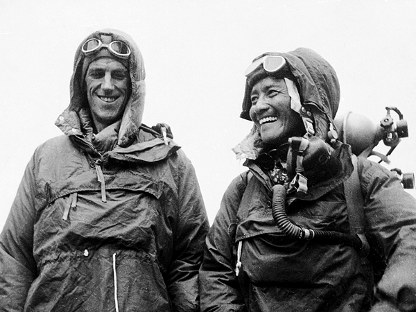 Tenzing Norgay, right, of Nepal and Edmund P. Hillary of New Zealand. Conquered the world's highest peak, the Mount Everest, on May 29. Edmund Hillary, with Sherpa Tenzing Norgay, reached the 29,035 Feet summit of Everest on May 29, 1953, becoming the first person to stand atop the world's highest mountain.